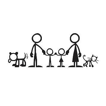 Pegatinas De Coche Con Dibujos Animados De La Familia Feliz