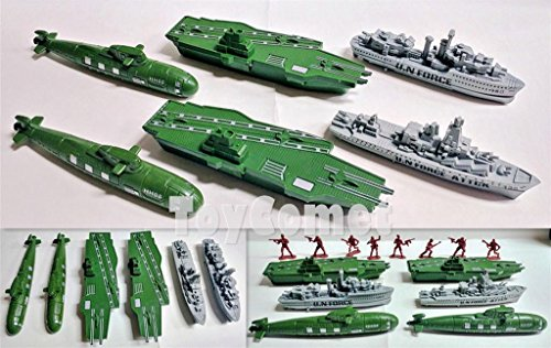 FidgetGear 6 pcs Military Aircraft Carrier Submarine Ship Toy Soldier Army Men Accessories