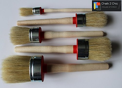 #PR5 - 5 x CHALK PAINT AND WAX natural bristle ROUND BRUSHES 5 sizes. 55mm , 50mm , 40mm , 35mm , 20mm by Chalk2Chic (Image #1)