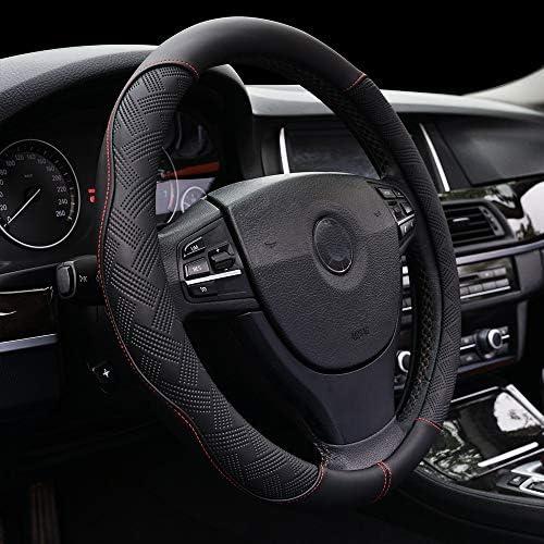 Steering Wheel Cover Microfiber Leather Breathable Anti-Slip& Odor Free Steering Accessories Fit for SuvsCarsSedans Universal 14.5-15 InchBlack