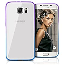 Galaxy S6 Edge Case, MagicMobile Ultra Slim Transparent Crystal [Clear] Case for Samsung Galaxy S6 Edge [Anti-Scratch] Flexible TPU Layer Color Bumper Frame [Shock-Resistant] Back Cover (Purple- Blue)