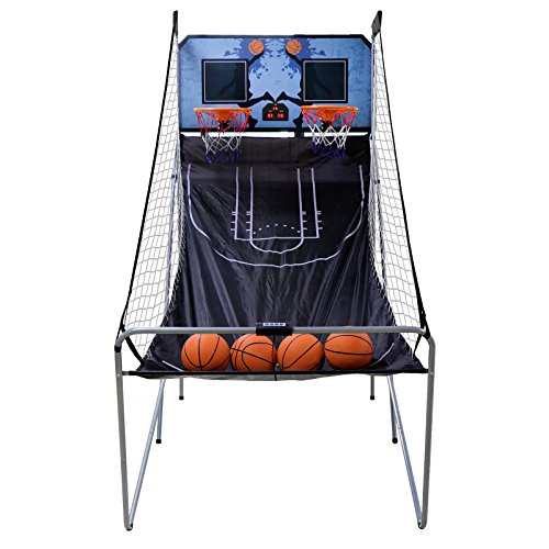 Smartxchoices Indoor Arcade Basketball Game with LED Scoreboard - Foldable 2 Player with 4 Balls and Inflation Pump - Kids Home Electronic Basketball Shot Arcade System with Sounds