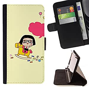 For Apple Iphone 5C Cute Happy Rocking Horse Style PU Leather Case Wallet Flip Stand Flap Closure Cover