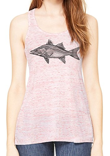 ass Fish Womens Flowy Racerback Tank (Red Marle, X-Small) (Bass Womens Sleek)