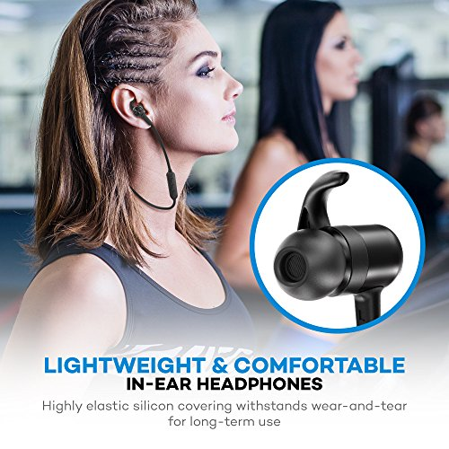 Bluetooth Headphones, TaoTronics Wireless Earbuds Sweatproof Sport Earphones, Lightweight and Fast Pairing(Comfortable Elastic Silicon Covering, CVC 6.0 Noise Cancelling Mic, 8 Hours Battery)