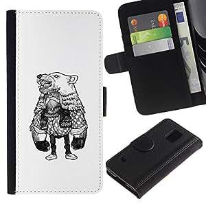 NEECELL GIFT forCITY // Billetera de cuero Caso Cubierta de protección Carcasa / Leather Wallet Case for Samsung Galaxy S5 V SM-G900 // Oso de vestuario