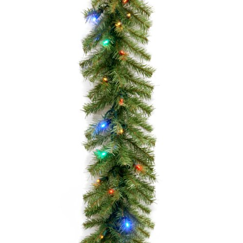 National Tree 9 Foot by 10 Inch Norwood Fir Garland with 50 Battery Operated Multicolor LED Lights - Norwood Fir Garland