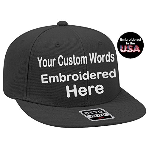 Custom Text Embroidered Fitted Hat. Fitted by Size Flat Bill Otto Cap. (7 3/8, - Custom Fitted Hat Cap
