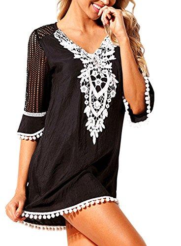 Jevole Women's Chiffon Swimwear Bikini Cover up Beach Dress Crochet Tassel Pom Pom Trim Swimsuit (Black,l)