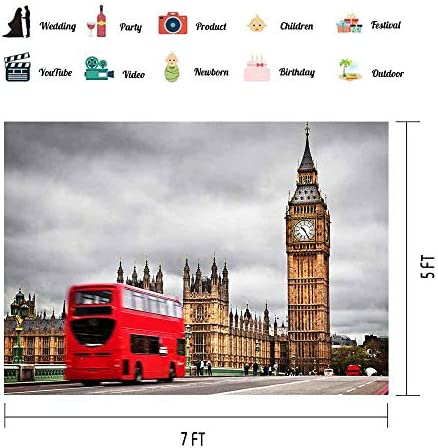 7x10 FT London Vinyl Photography Backdrop,Historical Architecture Famous Landmark Big Ben Sketch with United Kingdom Flag Background for Baby Birthday Party Wedding Graduation Home Decoration