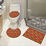 Christmas 3 Piece Extended bath mat set Fireplace Socks for Surprise Stars Ornaments Triangle Pines Image Elongated Toilet Lid Cover set Olive Green Red and White