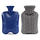 GWHOLE Full Size Hot Water Bottle with Knitted Removable Cover 2L - Grey