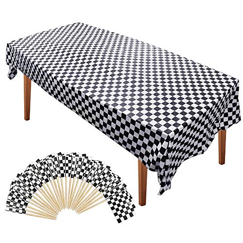 (Homgaty 101 Pieces Race Theme Party Supplies-100 Pack Mini Checkered Racing Flag,Toothpick Stick Cupcake Toppers and 1 pack Plastic Checkered Tablecover, Black and White Rectangular Tablecloth)