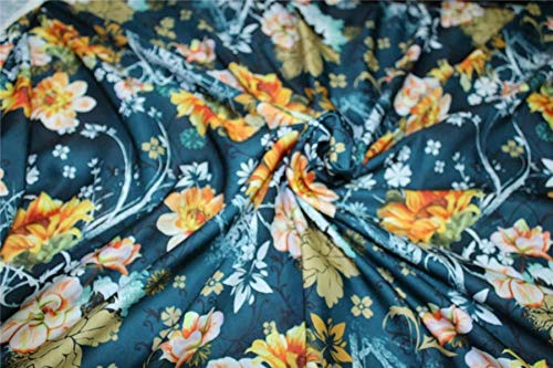 Puresilks Linen Satin Digital Print Fabric Teal Green Gold and Yellow Floral 44'' Wide by The Yard ()