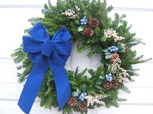 Blueberry Country Fresh Christmas Door Wreath With Blue Velvet Bow from Maine Live Holiday Door Wreath (Blueberry Wreath)