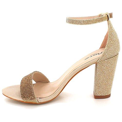 Kärki Diamante Naisten Nro Kengät Sandalit Crystal London Morsiamen Avoin Hääjuhliin Lohko Iltana Kävelyttää Kultaa Aarz Naisten w1TnIqxEA