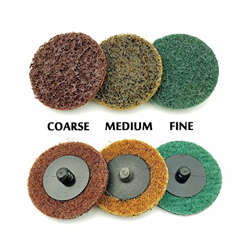 2 Inch Assorted Grit Roloc R-Type Sanding Discs Nylon Non Woven Fabric Quick-Change Surface Conditioning Disc, 10pcs each of Coarse/Medium/Fine Grit (total 30pcs) + 1/4'' Shank Disc Pad Holder by e-Rookie (Image #2)
