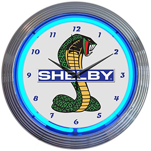 Neonetics Ford OLP Shelby Cobra Mustang Blue Neon Clock 15 Inch Diameter with Chrome Finish Rim - 8SHLBY