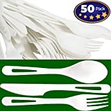 Biodegradable, Non-GMO Plant-Based Plastic Cutlery Combo Pack. 50 Place Settings (Fork, Knife, Spoon) of Certified Compostable, Disposable, Eco-Friendly Silverware Safe for Hot and Cold Foods