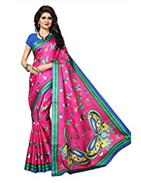 Shonaya Women`S Pink Colour Khadi Jute Silk Printed Saree