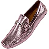 Amali Men's Perforated Patent Driving Moccasin Shoe, Easy Comfortable Slip On Loafer