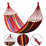 Double 2 Person Cotton Fabric Canvas Travel Hammocks 330 lbs Ultralight Camping Hammock Portable Beach Swing Bed with Hardwood Spreader Bar Tree Hanging Suspended Outdoor Indoor Bed