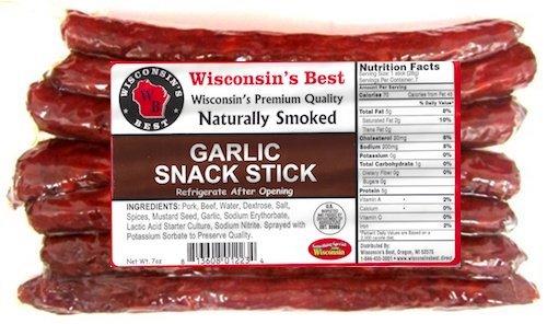 (Wisconsin's Best Garlic Protein Snack Meat Sticks, 7, 1 oz)