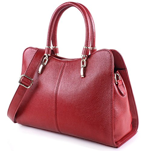 handle Shoulder light Blue Messanger Cowhide Business Travelling Red Soft Crossbody Handbag Top Leather Bag Ainimoer Purse UqtYfBwF