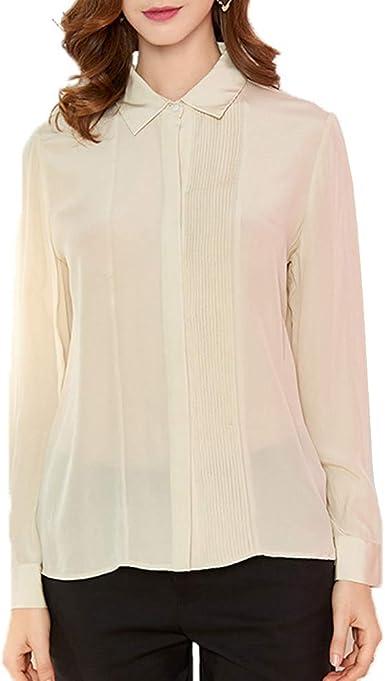 DISSA S6805 - Blusa de seda para mujer, 100 % seda, cuello de ...