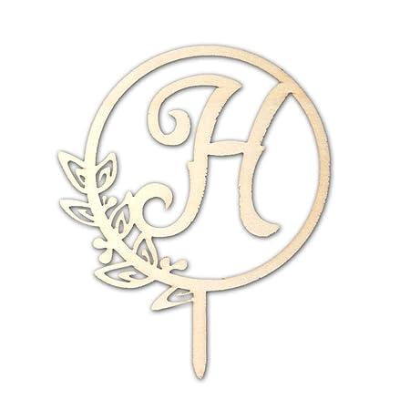 Letra H de madera para decoración de tartas, boda ...