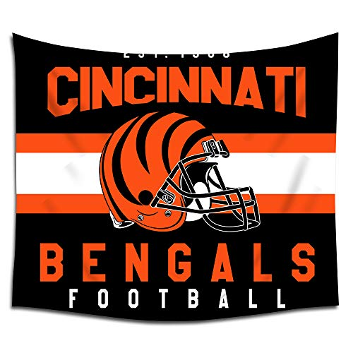 Jacoci Cincinnati Bengals Wall Tapestry Hanging Stripe Design for Bedroom Living Room Dorm Handicrafts Curtain Home Decor Size 50x60 Inches