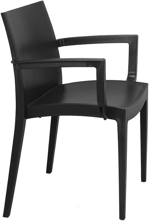 Lote de 2 sillón MAZ Resina Color Antracita. Silla con Brazos de plástico, monobloc, apilable para terraza y jardín.: Amazon.es: Jardín