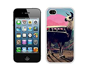 Awesome Fun Apple Iphone 4s Case Durable Soft Silicone TPU Cool Cute llama Design White Phone Case Cover Accessories for Iphone 4