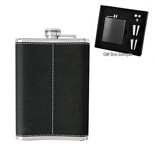 New-Scale-8oz-Black-PU-Leather-Flask-Gift-Set-Premium-in-Black-Gift-Box-Pocket-Hip-Flask-8-Oz-with-Funnel-188-Stainless-Steel-and-100-Leak-Proof-for-Discrete-Liquor-Shot-Drinking