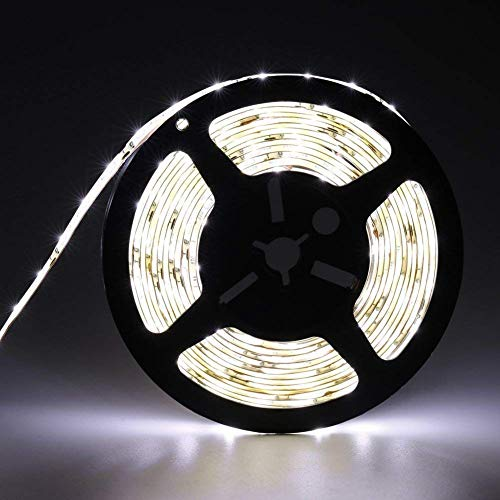 Waterproof Led Strip Lights SMD 3528 16.4 Ft (5M) 300leds 60leds/m White Flexible Tape Lighting Tape Lights for Boats, Bathroom,Mirror,Ceiling and Outdoor (cold white), Power Supply not Included