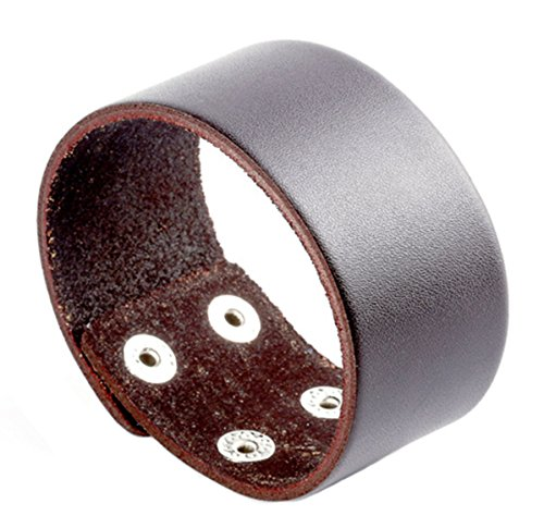 JJWW Sihetun Buckle Simple Leather Bracelet (Rivet Women Leather Cuff)