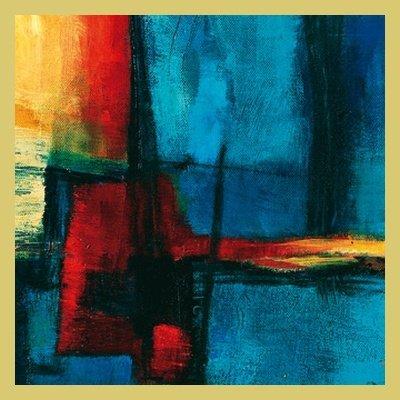 Bild mit Rahmen Bea Danckaert - Abstract Night - Digitaldruck - Holz gold, 90 x 90cm - Premiumqualität - Abstrakte Malerei, Farbfelder, abstrakte Formen, lebendig, leuchtend, Büro, Business, Wohnzimmer - MADE IN GERMANY - ART-GALERIE-SHOPde