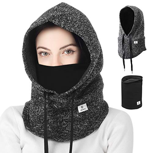 Balaclava,Windproof Ski Neck Warmer,Winter Warm Windproof Balaclava,Sporty street fashion, Winter Autumn Windproof Balaclava Face Mask Hood, Unisex Couples Skiing balaclava mask Hiking (Gray+Black) from Leyuee