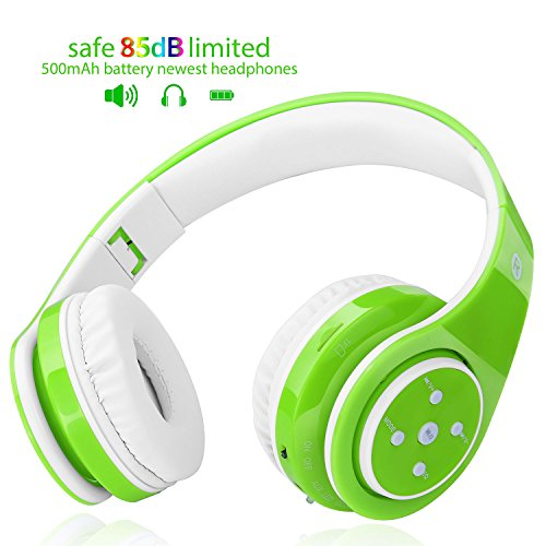 2018 NEW! Bluetooth headphones for kids, 85db volume limited, up to 6-8 hours play, Stereo Sound, SD Card Slot, Over-Ear and Build-in Mic Wireless/Wired headphones for boys girls(Green) from Eco Duzlly