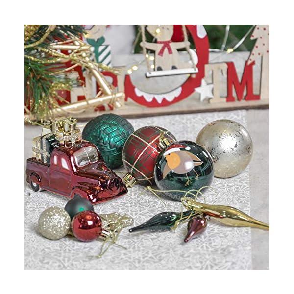 Valery Madelyn Palle di Natale 70 Pezzi di Palline di Natale, 3-6 cm di Strada di Campagna Rosso Verde e Oro Infrangibile Ornamenti di Palla di Natale Decorazione per la Decorazione 7 spesavip