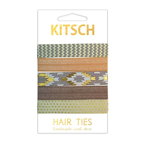 Kitsch 5 Piece Knotted Hair Ties and Creaseless Ponytail Band Set, Soft Elastic Hair Ribbon (Mirage)
