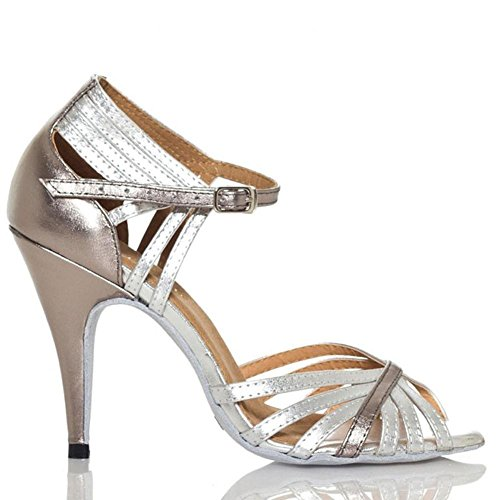 A leder heels silber thin soles grau ballsaal soft sandalen schuhe salsa tanz samba high tango frauen open toe latein gürtelschnalle UwIHqWE