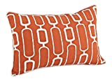 "SARO LIFESTYLE 942 Modernica Collection Stitched Design Down Filled Lumbar Throw Pillow, 12"" x 18"" Oblong, Tangerine"