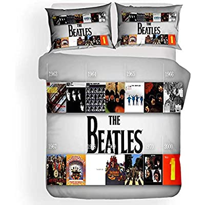 YFJL Soft Microfiber Duvet Cover Set 3D Beatles Rock Music Album Memorial Bedding Set with 2 Pillowcases for Teens Children Adult,Full: Kitchen & Dining