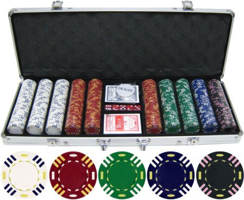 13.5g 500pc Triple Striped Clay Poker Chip Set (Large Image)