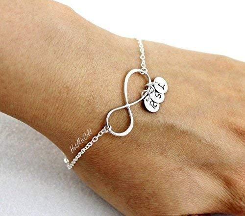 (Personalized Infinity Bracelet and Initial, Family Monogram Charm Bracelet, Mothers Bracelet, BFF, Silver Sister Jewelry )