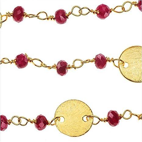 Vermeil oro envuelto de cadena de la piedra preciosa, Ruby Rondelles 3 mm y 8 mm Pailettes, cm 2,54, rojo