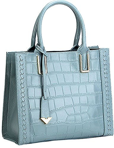 Menschwear Womens Genuine Leather Top Handle Satchel Bag Blue by Menschwear