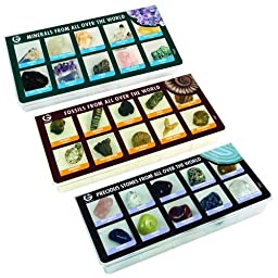 Constructive Playthings GEW-3 Rock, Mineral & Fossil Collection of 30 Specimens