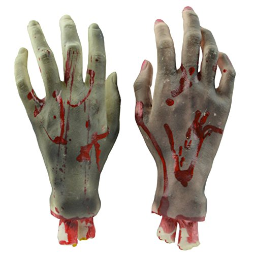 Prop Latex (Elibeauty A Pair of Black Broken Hand Bloodcurdling Toys Props for Halloween)
